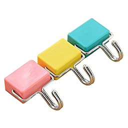 totalElement All-Purpose Magnetic Hooks, Pastel Pink, Yellow, Blue, 3-Pack