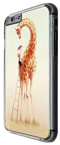 965 - cool cute fun tall giraffe boy ladder love flowers kawaii art illustration Design For iphone 6 Plus / iphone 6 Plus S 5.5'' Fashion Trend CASE Back COVER Plastic&Thin Metal -Clear