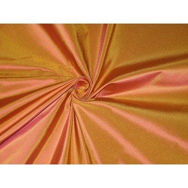 100% PURE SILK TAFFETA FABRIC ORANGE X PINK SHOT COLOR 54