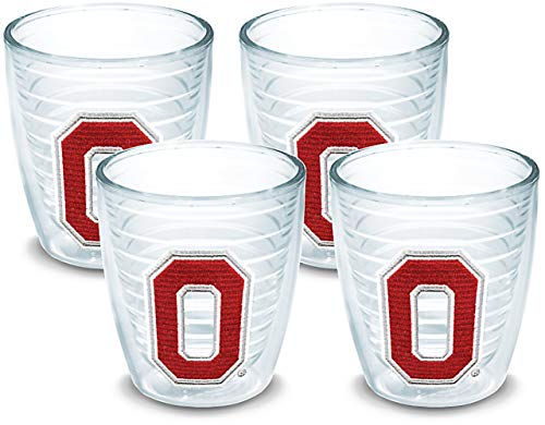 Tervis 1020875 Ohio State Buckeyes Block O Tumbler with Emblem 4 Pack 12oz, Clear