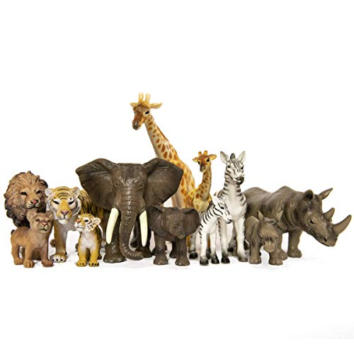 SANDBAR TOYS Safari Animals Set ( 12 Piece ) - Wild Animals, Baby Animals, Zoo Animals, Jungle Animals, and African Animals - Educational Child Development Toy - Kids, Toddlers, Children Toy Figures