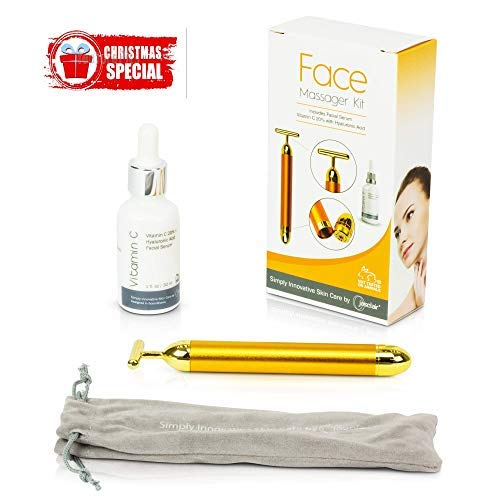 Face Massager Roller Kit with Facial Serum – 24K Gold Plated Beauty Bar Skin Care Massage Therapy Tool – Firms, Tightens Look and Reduces Look of Dark Eye Circles, Fine Lines, Wrinkles + FREE E-Book