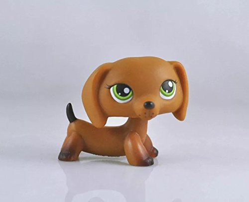 y Green Eyes Brown Dachshund Chocolate Tail Dog LPS Action Figure Toy 2