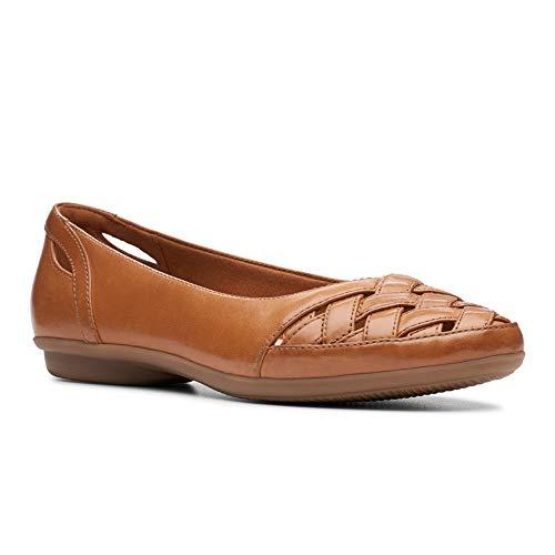 CLARKS Women's Gracelin Maze Ballet Flat, tan Leather, 065 M -
