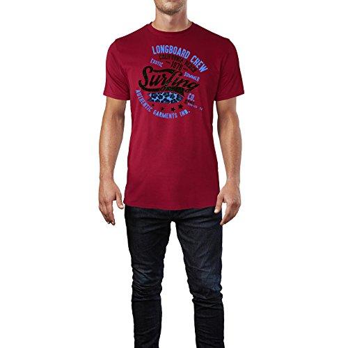 Sinus Art ® Herren T Shirt Longboard Crew ( Independence_Red ) Crewneck Tee with Frontartwork