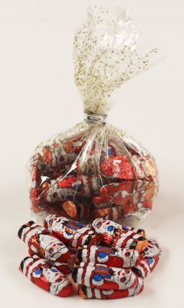 Scott's Cakes Foil Wrapped Solid Milk Chocolate Peanut Butter Filled Santas in a 1 Pound Gold & Sliver Confetti (Butter 1 Lb Santa)