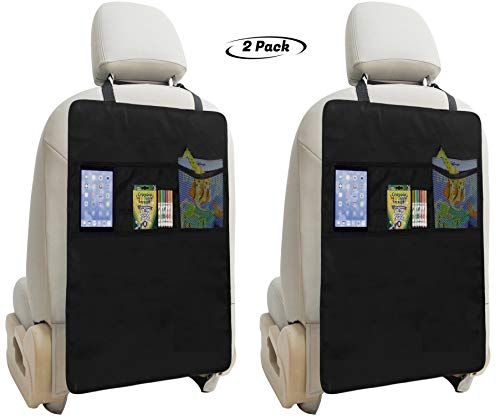 Great Deal! Lebogner Kick Mat Auto Seat Back Protectors + 3 Organizer Pockets, 2 Pack Waterproof Fabric Seat Cover For The Back Of Your Seat, X-Large Car Back Seat Protectors, Backseat Child Kick Guard Seat Saver