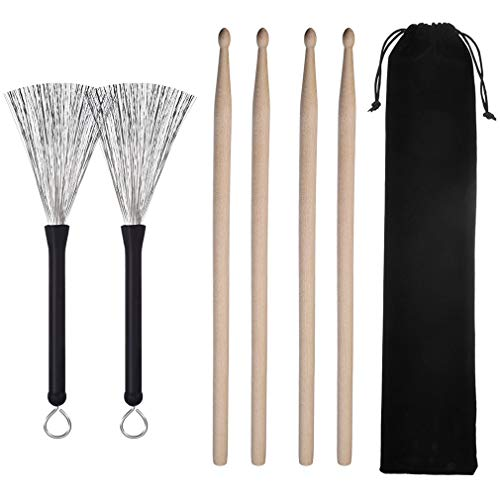 Firecolor 2 Pairs 5A Drum Sticks 1 Pair Drum Wire Brushes Drum Brushes Set Drum Sticks Set Retractable Brushes Drums Sticks Brushes with Portable Storage Bag