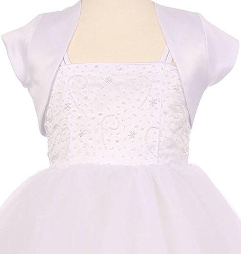 Big Girls' Satin Short Flower Girl Bolero Jacket Cover White 8 (K35D5) - White Jacket Dress