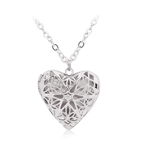 VIccoo Locket Pendant Necklace Hollow Heart Custom Photo Box Pendant Fashion Jewelry - 58#