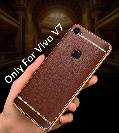 huge selection of 7b7ef 02a34 Loxxo Back Cover for Vivo V7 Leather Case Cover Anti-Scratch Cover with  Ultimate Drop & Screen Protection Mobile Cover for Vivo V7 (Brown)
