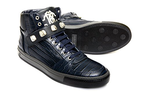 Roberto Cavalli 04154 mens navy blue crocodile print leather lace up sneakers.