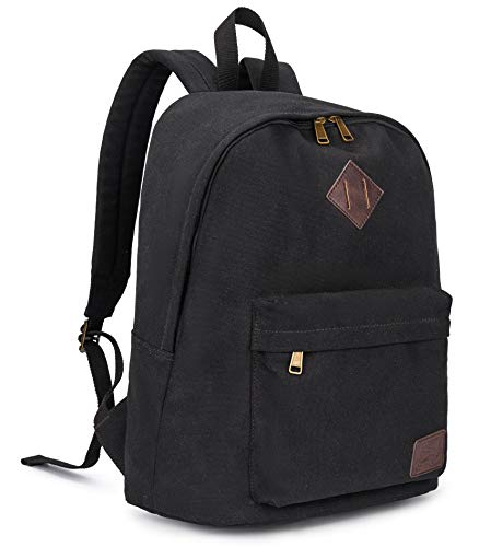 Canvas School Laptop Backpack, Durable Rucksack, Travel Notebook Bag, for Men Women Black