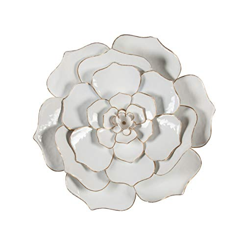 """Winsome House 24"""" Diameter White Flower Metal Wall Sculpture"""