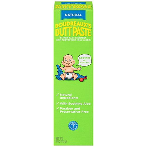 Natural Diaper Rash Cream (Boudreaux's Butt Paste Diaper Rash Ointment, Natural Ingredients-Paraben and Preservative Free, 4 Ounce)