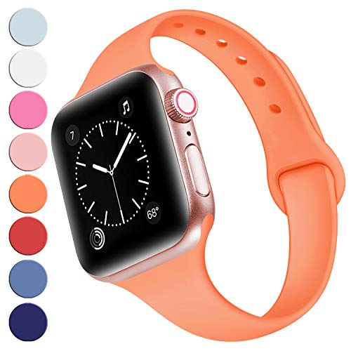 (R-fun Slim Bands Compatible with Apple Watch Band 40mm Series 4 38mm Series 3/2/1, Soft Silicone Sport Strap Wristband for Women Men Kids with iWatch, Papaya Orange)