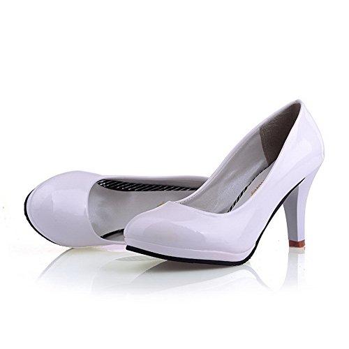 VogueZone009 Ladies Closed Round Toe High Heel Platform Patent Leather Microfiber Solid Pumps White XeA8tXwsZ