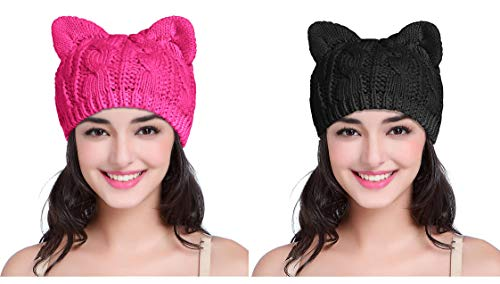 (v28 Women Men Girls Boys Teens Cute Cat Ear Knit Cable Rib Hat Cap Beanie (Pack2(Black+Rose)))