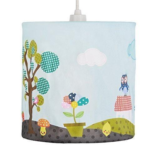 Bunter Lampenschirm mit einem tollen Motiv für Kinder: Wald, Eule, Pilz, Blumen und Flickentiere - für Hänge- und Pendelleuchte