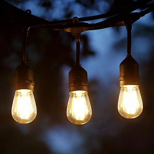 Keymit 48 Ft UL E492997 LED Outdoor Weatherproof Commercial Grade String Lights - 15 Hanging Sockets - 15 Plus 3 Extra S14 2W LED Filament Bulbs Included - Clear Glass (Home Depot Halloween Yard Decorations)