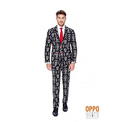 OppoSuits Men's Haunting Hombre - Party Costume Suit, Black/Orange, 42 by ()