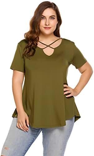 Zeagoo Womens Plus Size Tunic Tops Criss Cross V Neck Short Sleeve Summer T Shirt Casual Tops