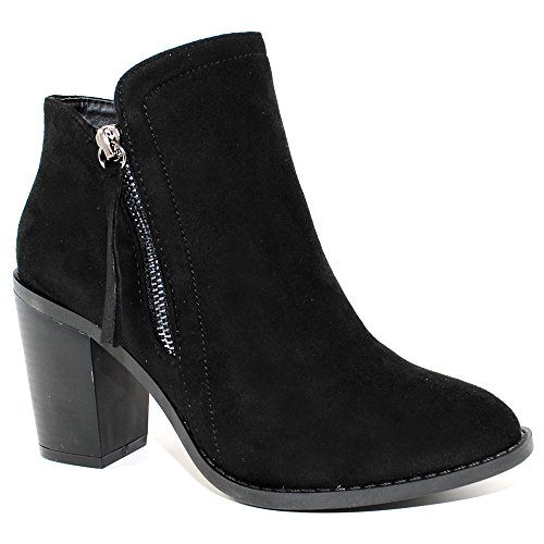 - TRENDSup Collection Women's Fashion Suede Booties (8.5, Black)