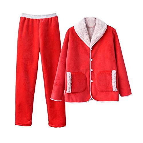 Traje L158 30 El Cálido Cordero 162cm Hogar 50kg Cardigan Mujer Pijamas Invierno M150 Manga Larga Engrosamiento Pajamasx 164cm Para 57kg 47 De Pantalón 41zOq4xwZ