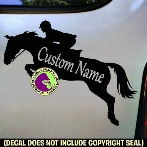 - HUNTER JUMPER CUSTOM COLOR, SIZE and WORDS Horse Rider Vinyl Decal Sticker B