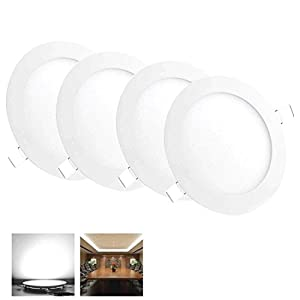 4 pcs 9W Round LED Recessed Ceiling Panel Down Light Fixture Bulb Lamp w/ Driver