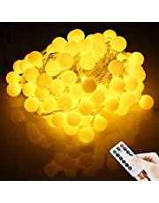 LED Fairy String Lights [Remote & Timer] 50Leds 16FT 5M Battery Operated Warm White String Lights Globe String Lights for Indoor & Outdoor Holiday Wedding Party Christmas Decoration [Energy Class A++]