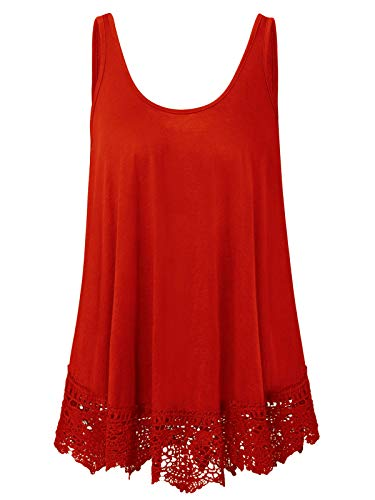 - Plus Size Swing Lace Flowy Tank Top Summer Sleeveless Summer Tunic Shirts (Red, 1X)
