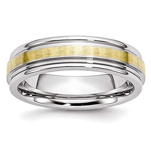 Jewelry Pilot 6mm Satin and Polished Cobalt Chromium 14K Yellow Gold Inlay Ridged Edge Wedding Band - Size 9
