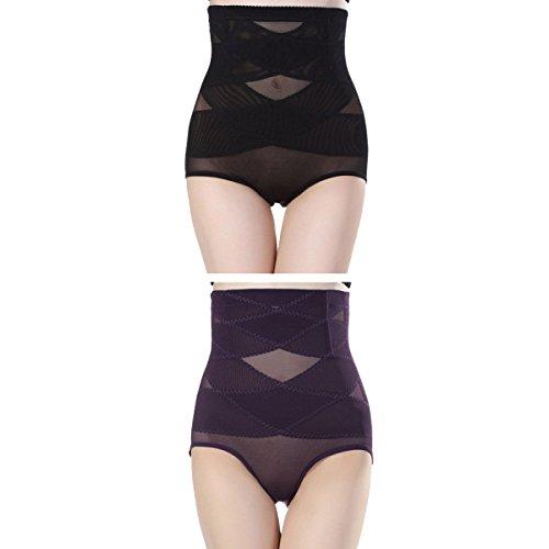 Mujer Hilado De La Red Alta Cintura Abdomen Levante Las Caderas Cómodo Suave Salud Transpirable Ropa Interior Paquete De 2 Black+Purple