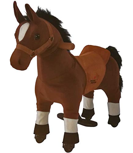 mofawangzi Saddle-Less Rocking Ride on Mini Brown Horse Toys Walking Horse Cycle Toy with Wheels and Foot Rest Without Battery or Electricity Mechanical for 3-5 Age