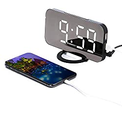 Digital Alarm Clock,HANGRUI LED Mirror Display with Adjustable Brightness,Big Snooze Button,Dimming Mode and 2 USB Charging Ports Portable Modern Alarm Clock for Living Room,Bedroom,Office