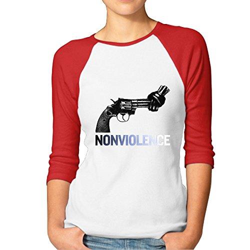 HYRONE Women's Funny No Violence Raglan 3/4 Sleeve