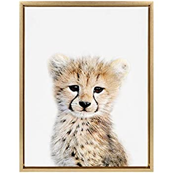 Kate and Laurel Sylvie Cheetah Framed Canvas Wall Art by Amy Peterson, 18x24 Gold, Baby Animal Home Decor