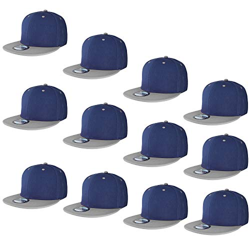 (Falari Wholesale 12 Pack Snapback Hat Cap Hip Hop Style Flat Bill Blank Solid Color Adjustable Size (One Size, 12-Pack Navy/Grey))