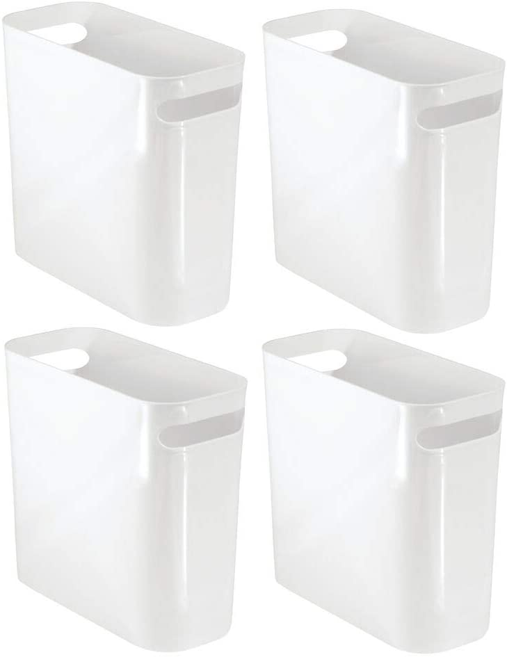 "mDesign Slim Plastic Rectangular Small Trash Can Wastebasket, Garbage Container Bin with Handles for Bathroom, Kitchen, Home Office, Dorm, Kids Room - 10"" High, Shatter-Resistant - 4 Pack - White"