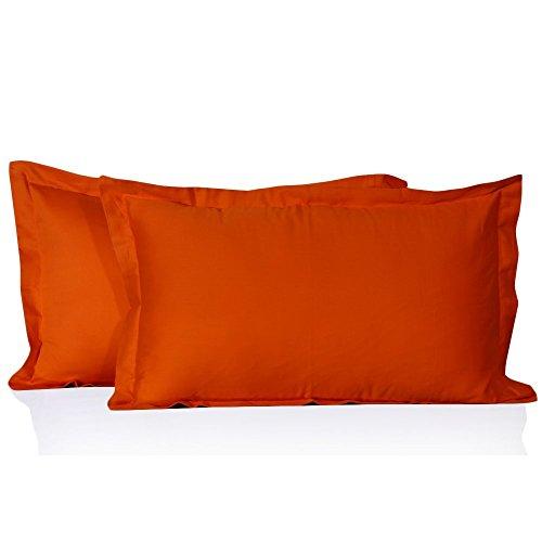 Prince Lionheart Inc 100% Egyptian Cotton Solid Pattern 2 Piece Pillowshams 600 Thread Count (Queen, Orange) ()