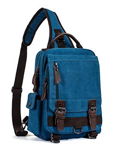 Leaper Canvas Messenger Bag Sling Bag Cross Body Bag Shoulder Bag Sky Blue, M
