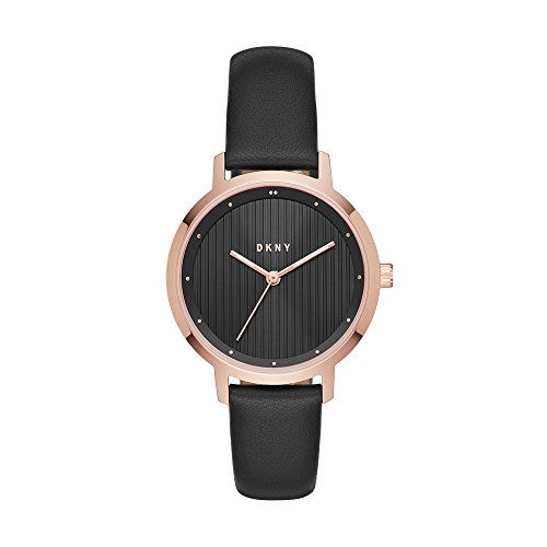 DKNY Women's The The Modernist Stainless Steel Analog-Quartz Watch with Leather Calfskin Strap, Black, 14 (Model: NY2641)