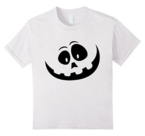 Pumpkin Makeup Costume (Kids Smiling Jackolantern Pumpkin Face Halloween Costume Shirt 6 White)