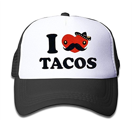 Kids I Love Tacos Trucker Mesh Baseball Cap Hat Trucker Hats Black by Itry
