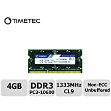 Timetec Hynix IC 4GB DDR3 1333MHz PC3-10600 Non ECC Unbuffered 1.5V CL9 2Rx8 Dual Rank 204 Pin Sodimm Laptop Notebook Computer Memory Ram Module Upgrade (Low Density 4GB)