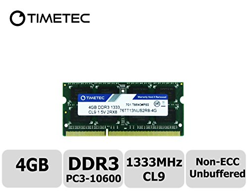 Timetec Hynix IC 4GB DDR3 1333MHz PC3-10600 Non ECC Unbuffered 1.5V CL9 2Rx8 Dual Rank 204 Pin Sodimm Laptop Notebook Computer Memory Ram Module Upgrade (Low Density - Aopen Mini Pc Components