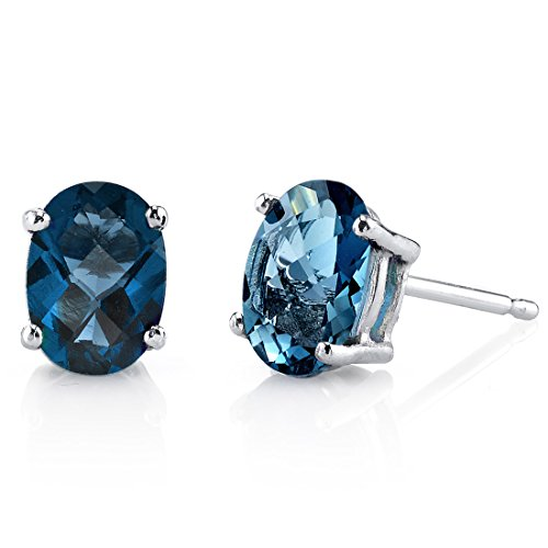 14 Karat White Gold Oval Shape 1.75 Carats London Blue Topaz Stud Earrings -