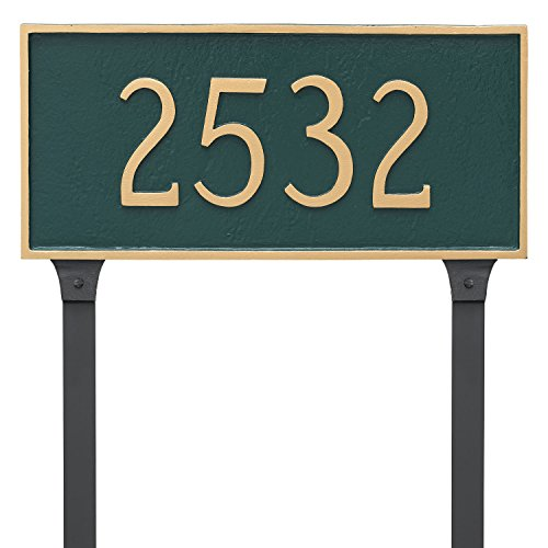 Montague Metal 10'' x 21'' Classic Rectangle One Line Address Sign Plaque with Lawn Stakes, Large, Hunter Green/Silver by Montague Metal