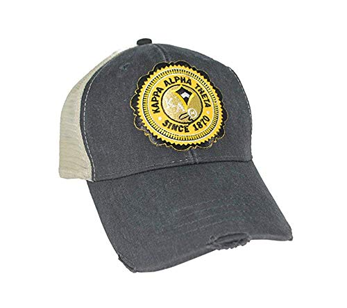 Greekgear Kappa Alpha Theta Seal Patch Trucker Hat Black/Tan